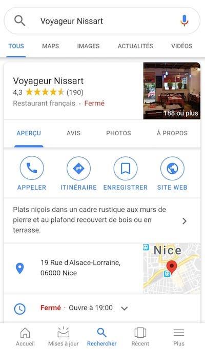 Affichage Google My Business