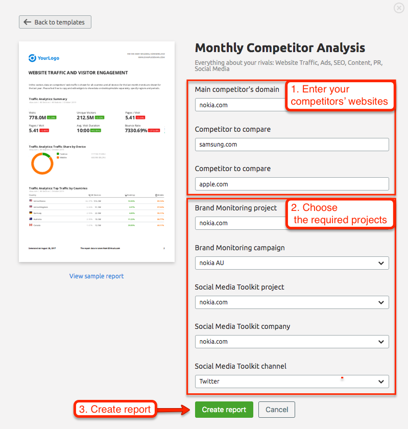 Automated Competitor Monitoring and Reporting with SEMrush. Image 0