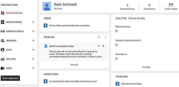 Crear canal Youtube - Panel control YouTube