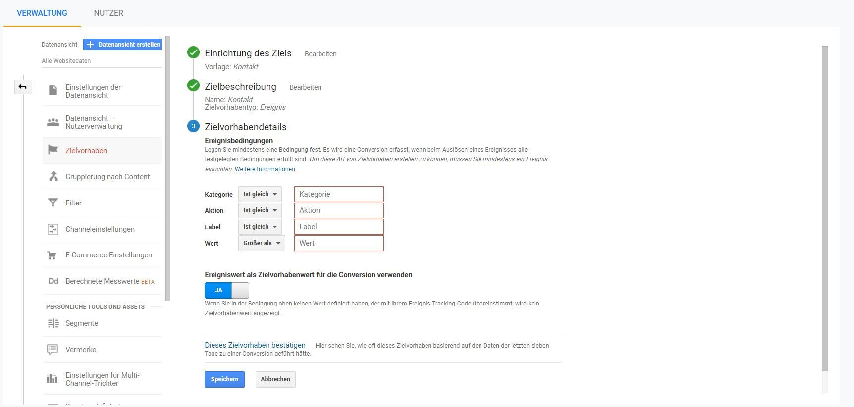 Google Analytics: Zielsetzung finalisieren