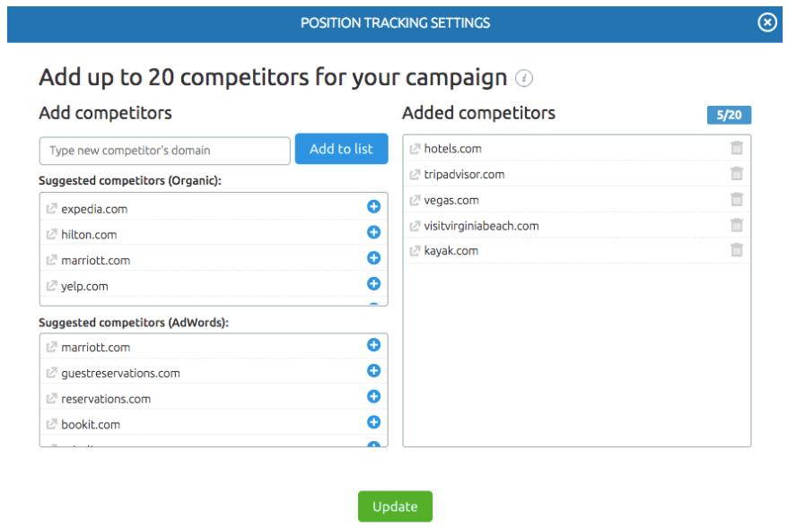 In Position tracking puoi inserire fino a 20 competitor da tracciare