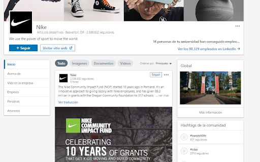 Páginas de empresa en LinkedIn - Ejemplo Nike
