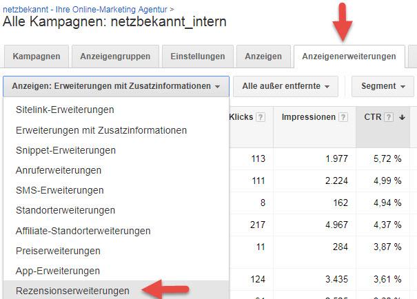 Google Ads Rezensions-Erweiterungen
