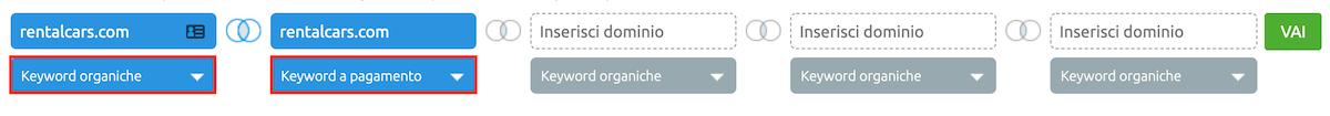keyword organiche e a pagamento con cui la concorrenza si posiziona in prima pagina