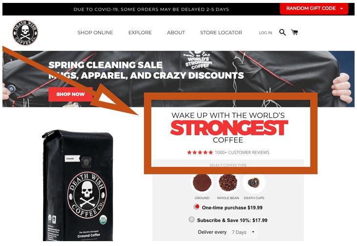 Página web - Propuesta única de ventas o USP