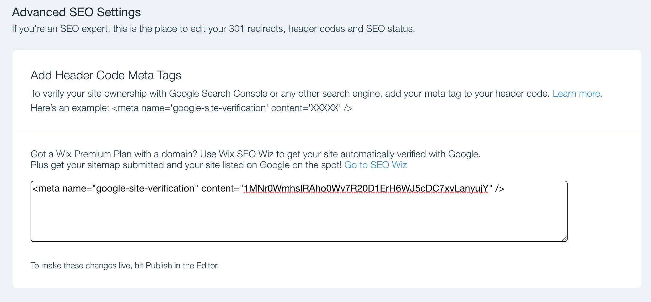 wix search console meta