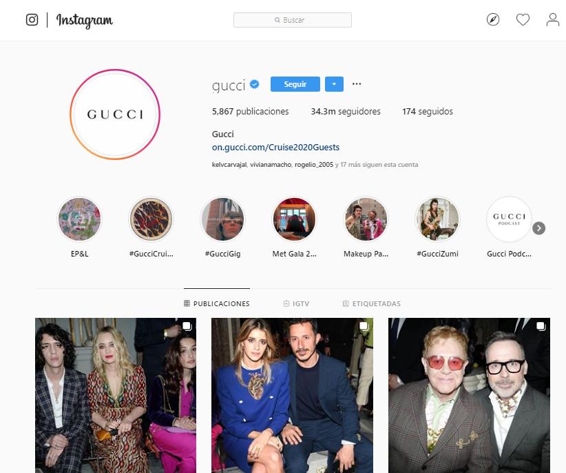 Likes en Instagram - Gucci