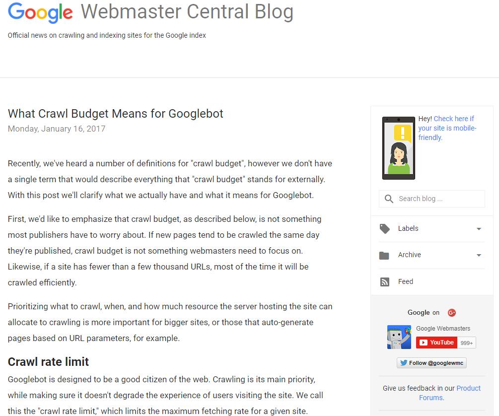 Cosa significa crawl Budget per Google