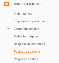 Página de destino en Google Analytics