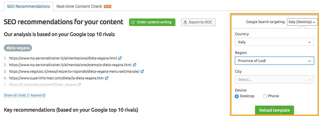 Configurare seo content template per una località specifica