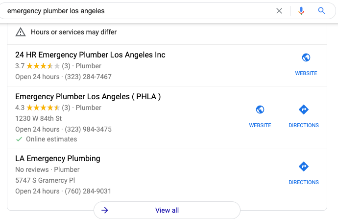 Emergency plumber Los Angeles Google map pack