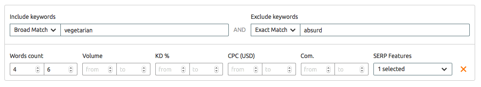Advanced filters in SEMrush Keyword Magic tool