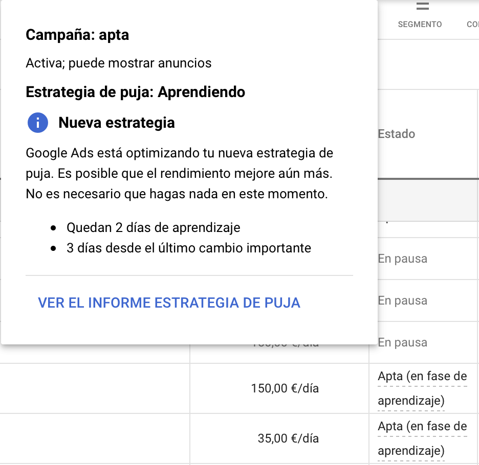 Aprendizaje de Smart Bidding- Campañas de Google Ads