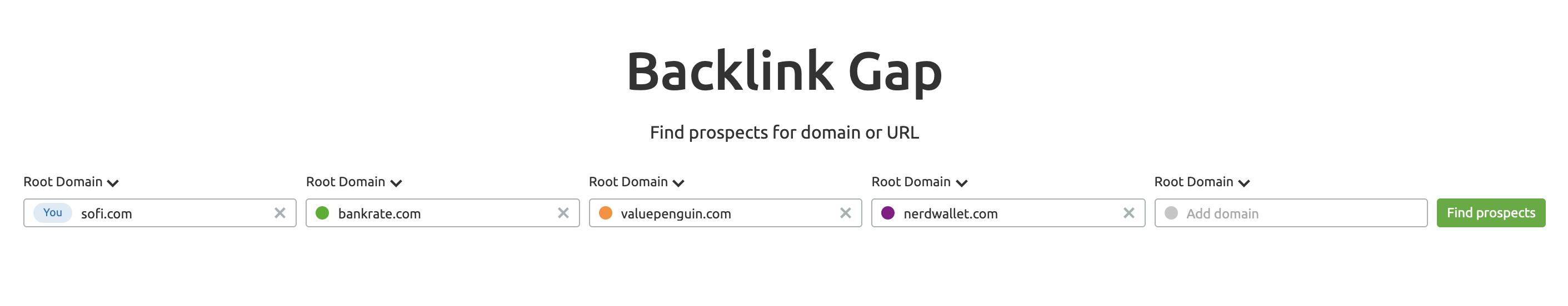 SEMrush Backlink Gap Tool screenshot