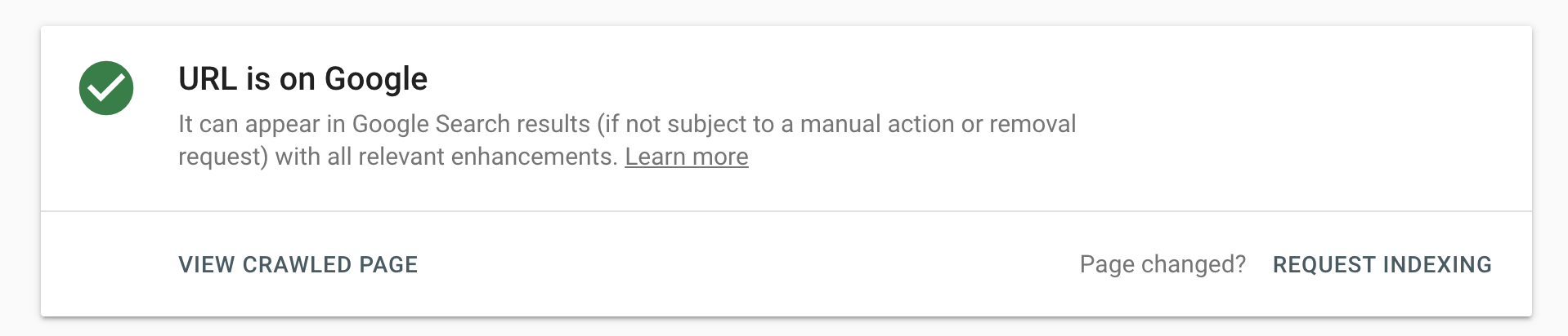 URL is Indexed on Google confirmation