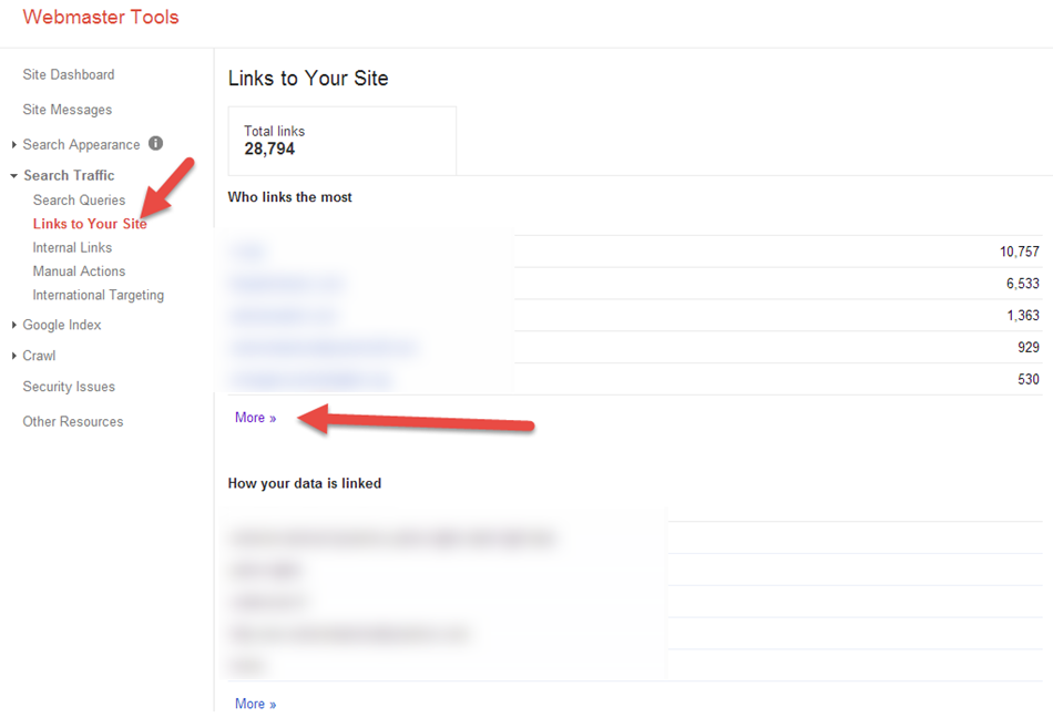 links to your site in search console