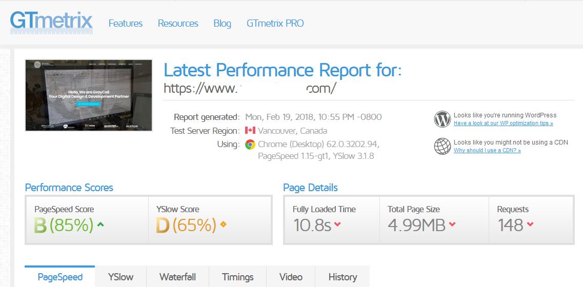 Gtmetrix website speed metrics