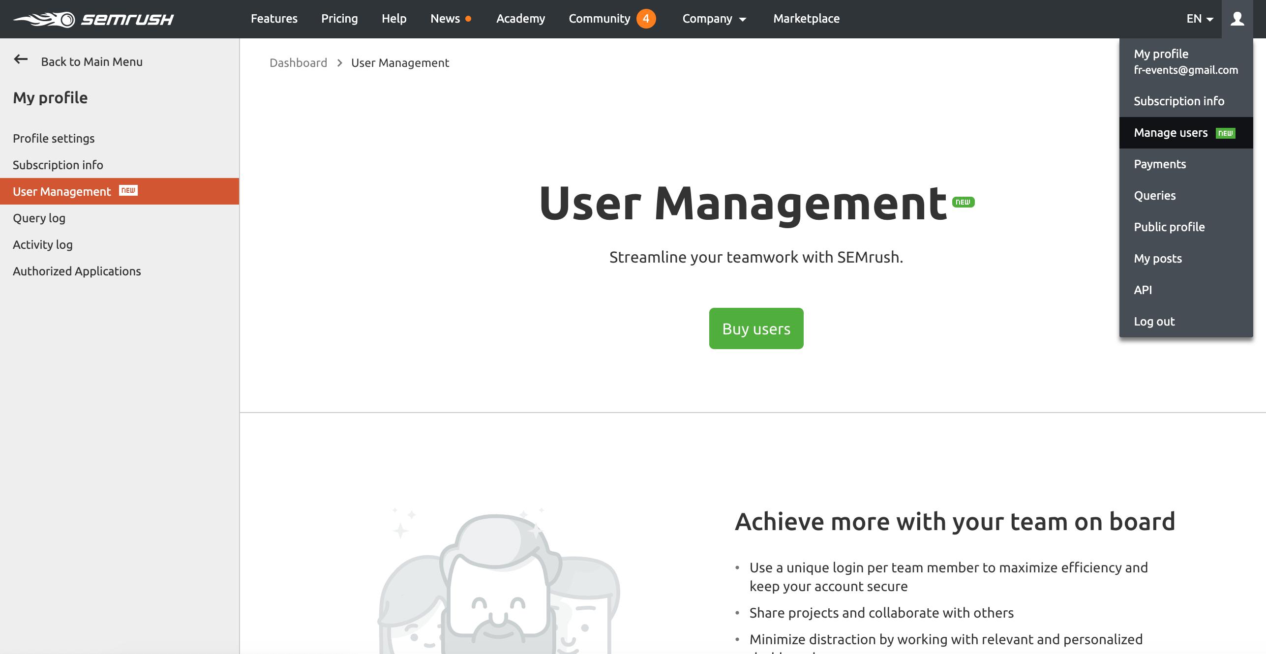 User Management Section in SEMrush