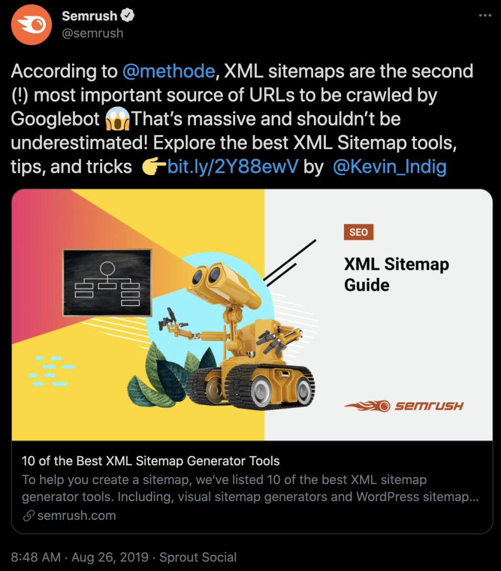 semrush xml sitemap tweet