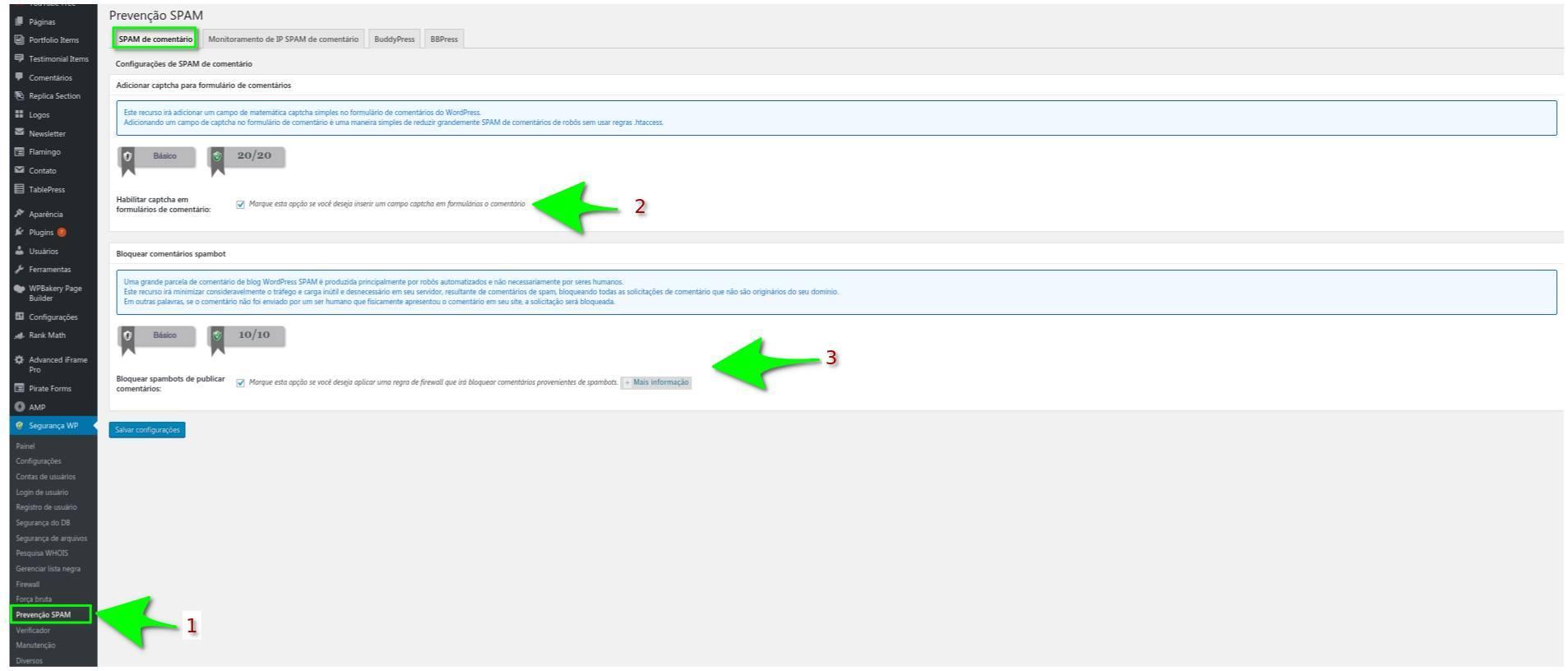 Proteção Contra Spam de Comentário - All in One WP Security