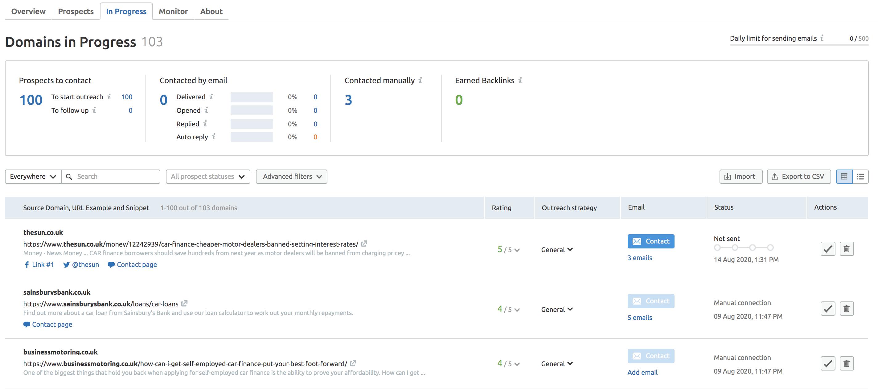 Domains in Progress Screenshot