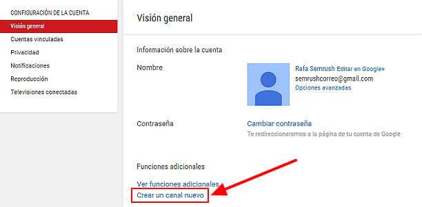 Crear canal Youtube - configuración