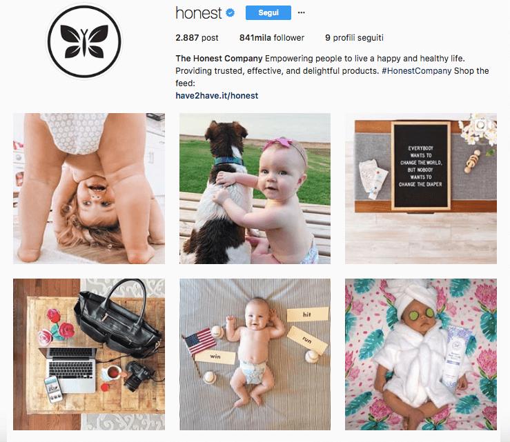 L'account di The Honest Company su Instagram