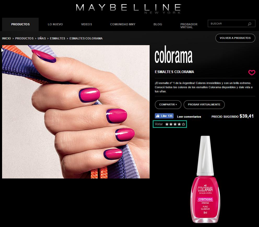 Ejemplo de reviews en Maybelline