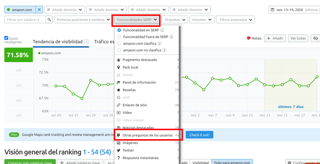 SEMrush Position Tracking tool screenshot