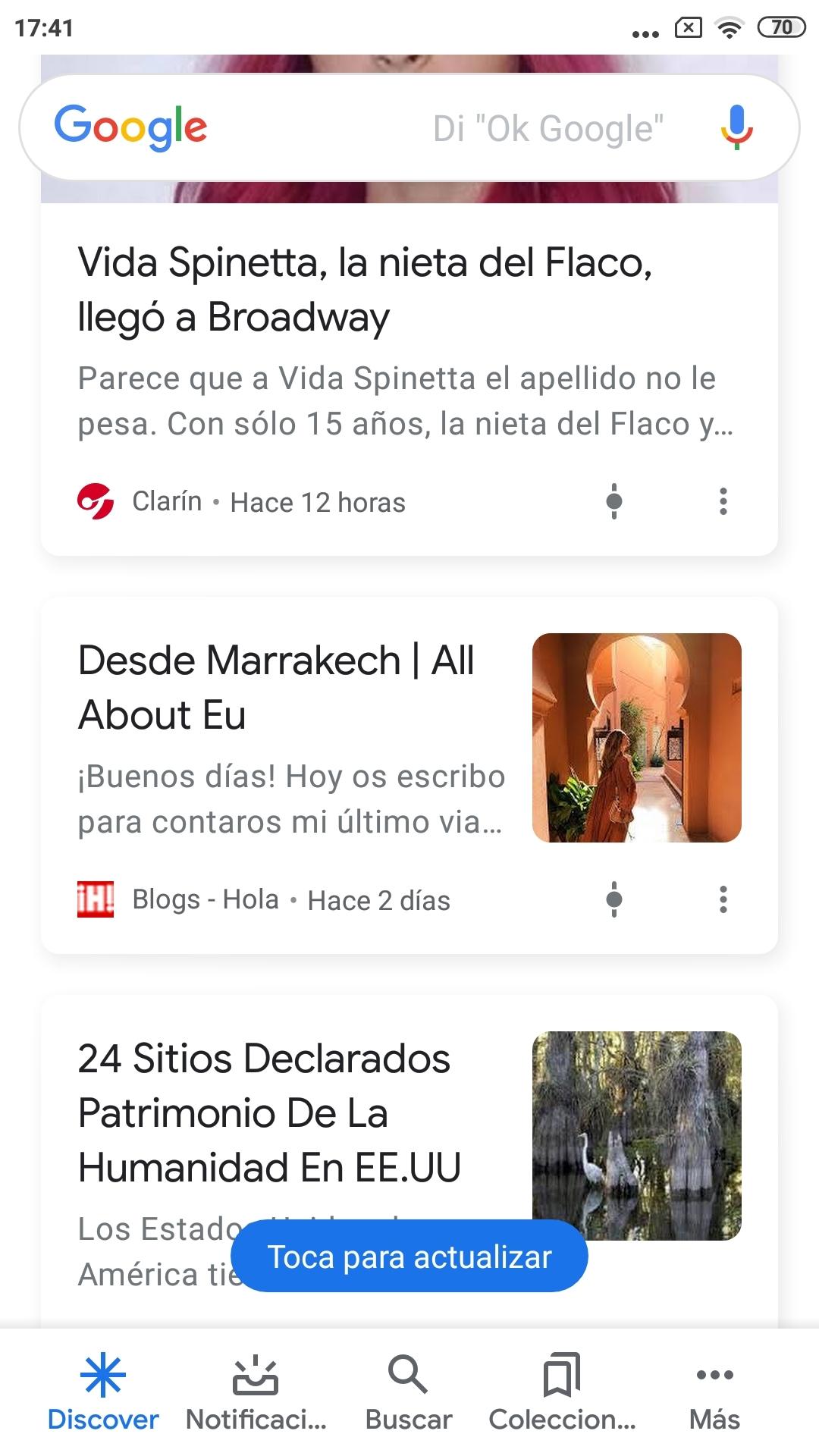 Cajitas de contenido de Google Discover