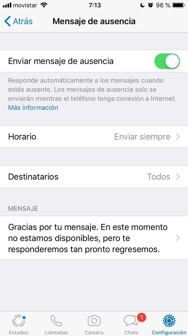 Mensaje de ausencia en Whatsapp Business