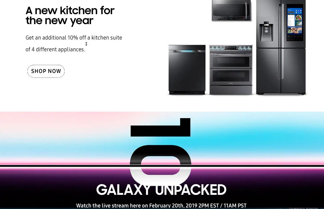 Samsung: esempio di sito con design asimmetrico