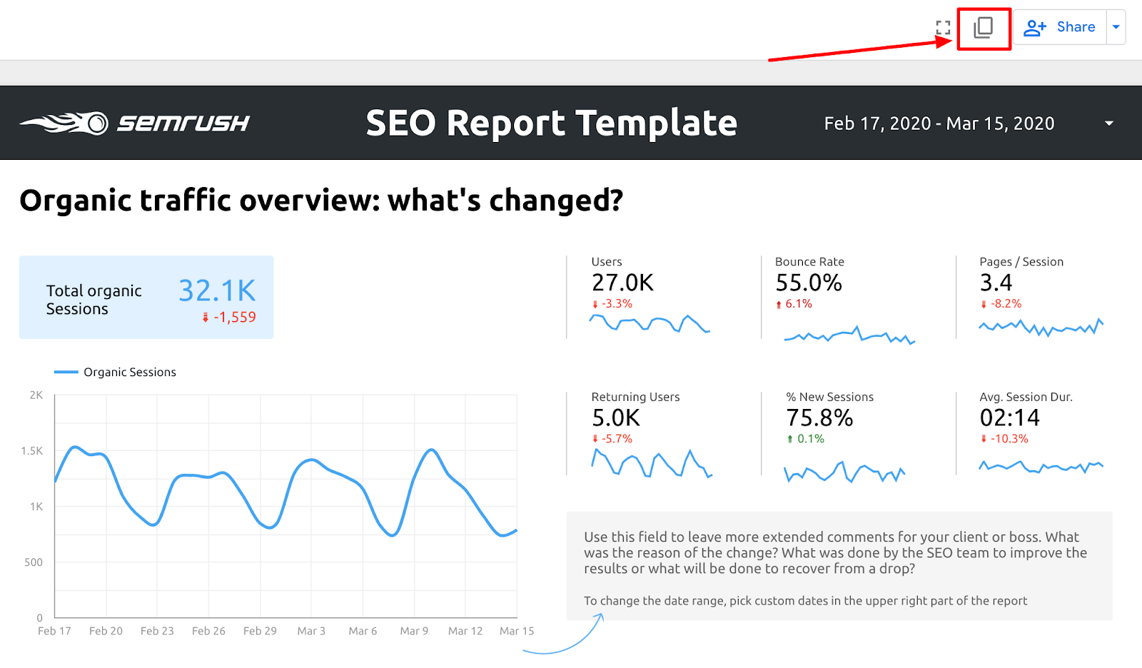 SEO Template: Copying the Report