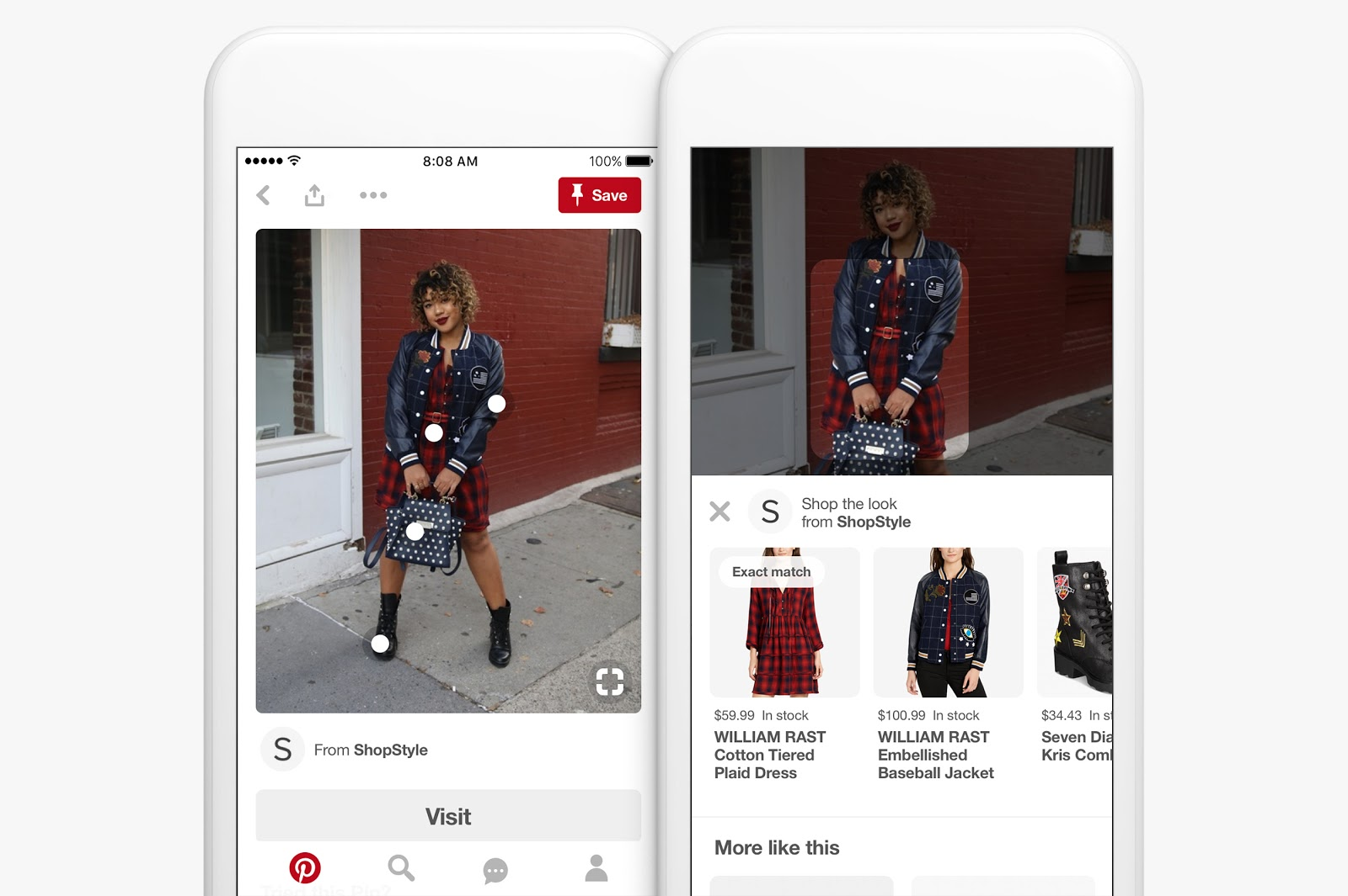 Pinterest responsive visual search example
