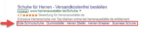 Google Ads Sitelink-Erweiterungen