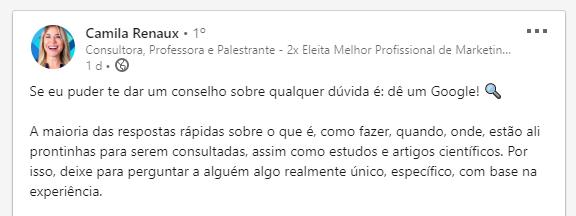 Camila Renaux Linkedin sobre Google