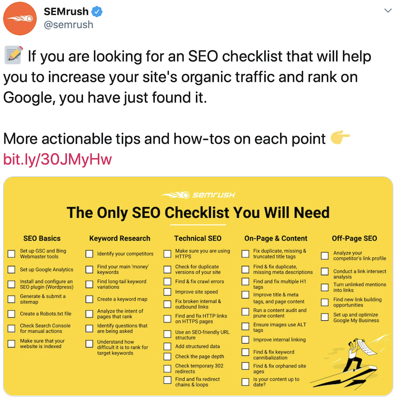 Example of an infographic in a social post