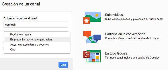 Crear canal Youtube - Crear canal empresa