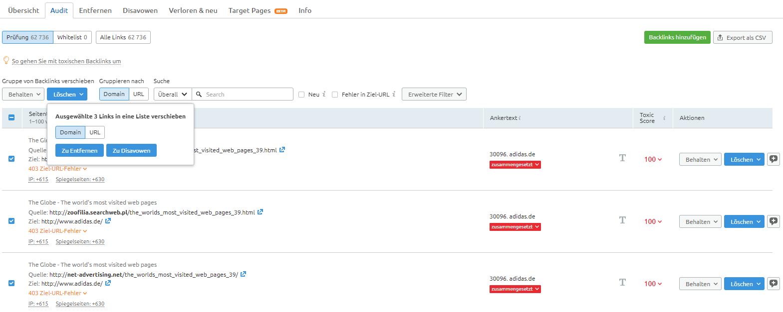 Screenshot: Backlink-Audit-Tabelle