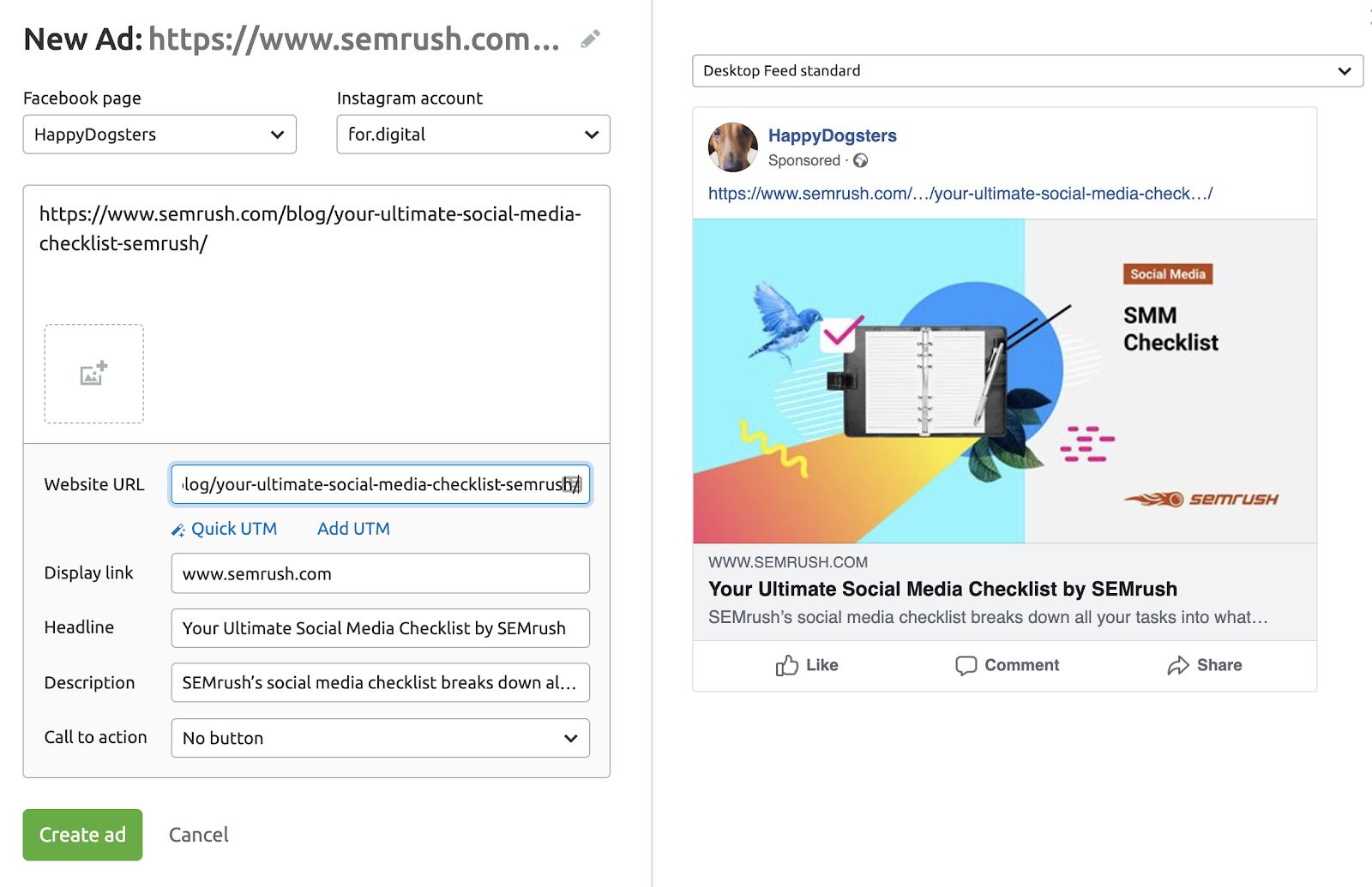 semrush social media ads