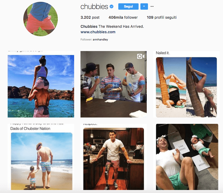 Chubbies: account Instagram aziendale da seguire