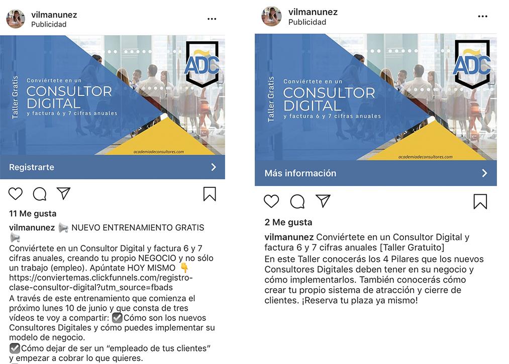 Instagram Ads - Copy y CTA