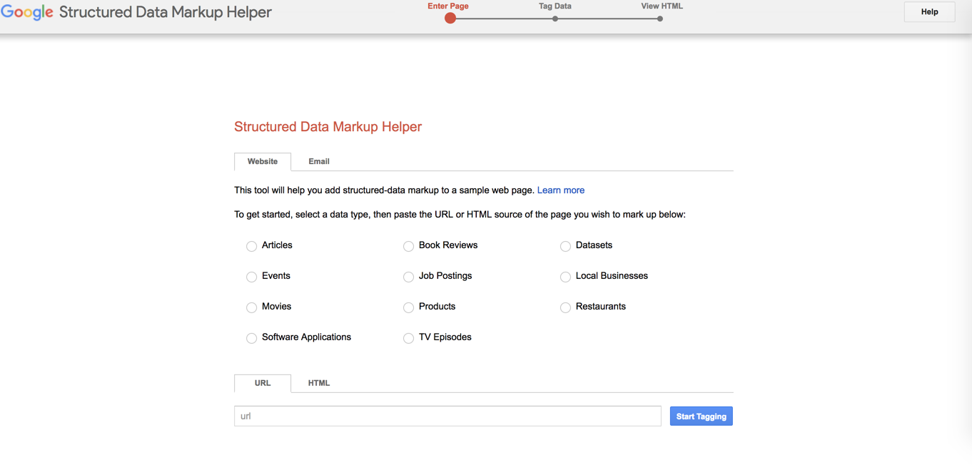 A screenshot of the first page a user will see when starting the Google Structured Data Markup Helper tool