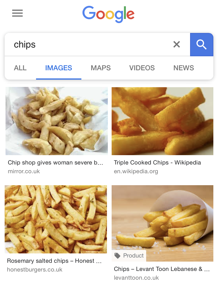 Google UK search results for Chips