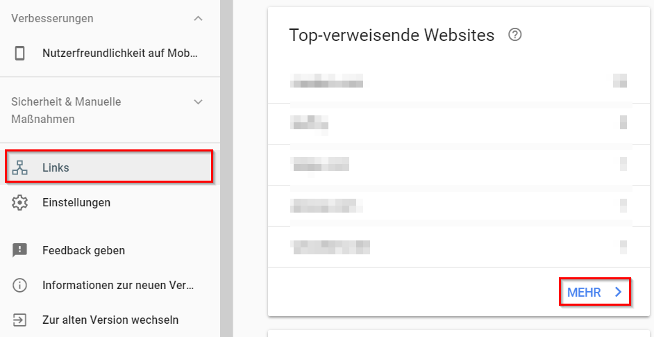 Google Search Console: Top-verweisende Websites
