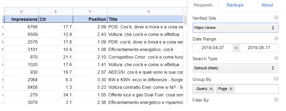 Uso dell'addon Search Analytics for Sheets