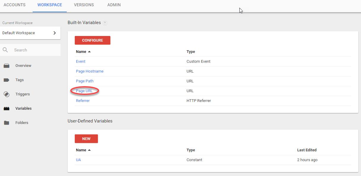seleccionar la variable de Page URL