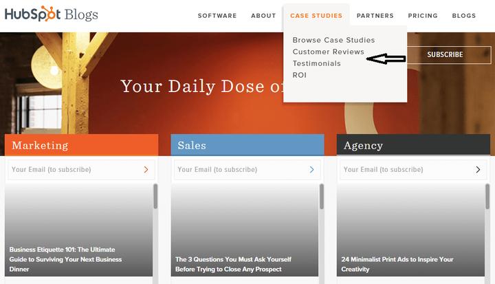 En el sitio de HubSpot se muestra una sección que ofrece testimonios