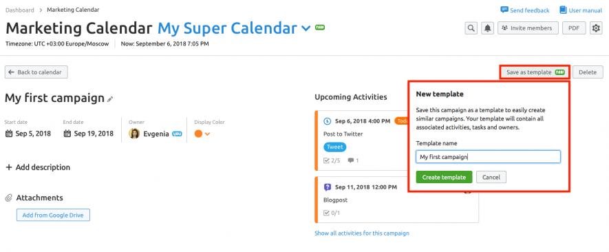 Calendario de marketing - Reutilizar campañas