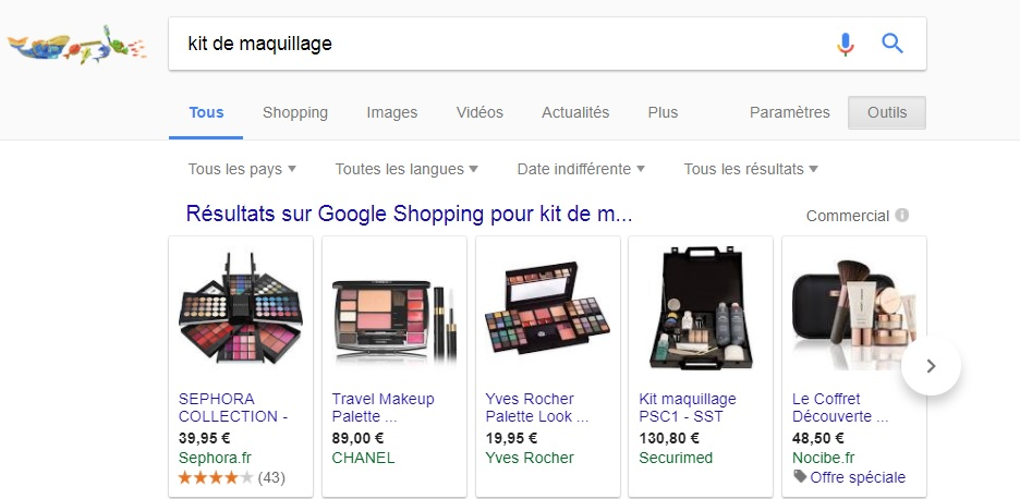 Kit maquillage - résultats dans Google Shopping